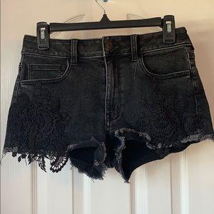 American Eagle Black Denim Shorts With Appliqués